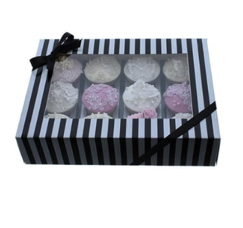 12 Cavity Silver & Black Cupcake Box