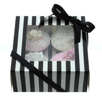 Black & White 4 Cavity Cupcake Box