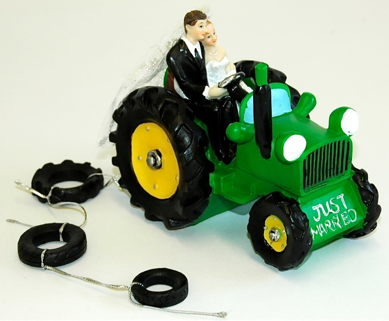 Bride and Groom green Tractor