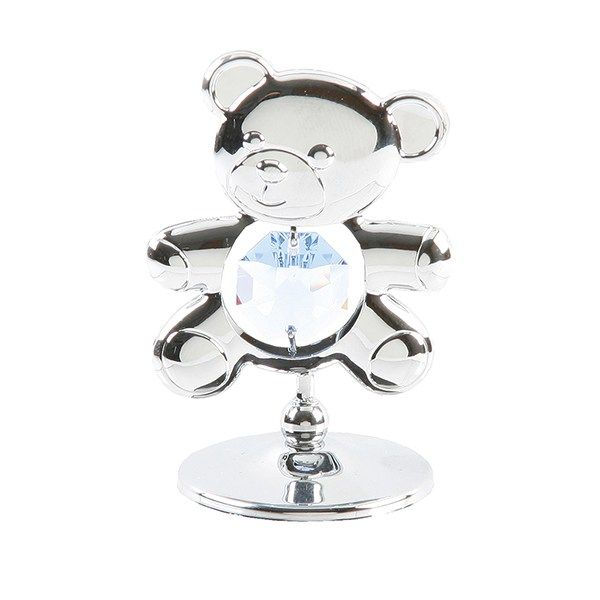 Crystocraft Chrome Plated Bear with Swarovski Crystal - Blue