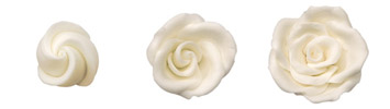 Pre-made Royal Icing White Roses - Large 40mm