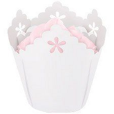White Flower Pleated Baking Cups
